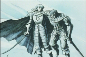 guts and Griffith smiling together