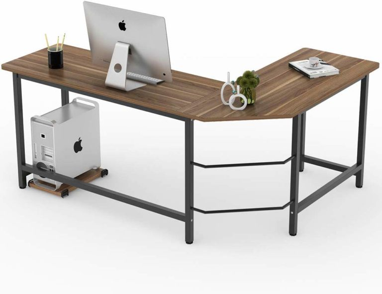 Tribesigns L-Shape Reversible Computer Desk with Storage Shelves for Home Office